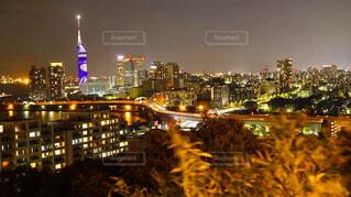 空,建物,夜,夜景,屋外,都市,景色,高層ビル,明るい,福岡タワー,ダウンタウン
