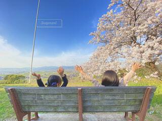 公園のベンチに座っている人々のグループの写真・画像素材[4621123]
