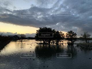 自然,風景,空,屋外,湖,雲,川,水面,池,樹木,くもり