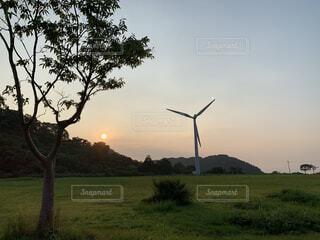 空,屋外,風車,景色,草,樹木,景観