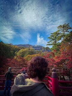自然,空,秋,屋外,雲,山,樹木,人物,人