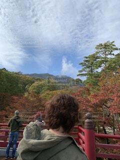 風景,空,秋,屋外,雲,山,樹木,人物,人
