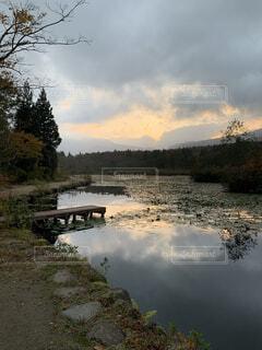 自然,風景,空,秋,屋外,湖,雲,川,水面,池,樹木
