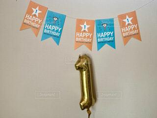 風船,壁,happy birthday,誕生日おめでとう,一歳,誕生日会,貼り付け,1st,コロナ禍,おうちでお祝い,first