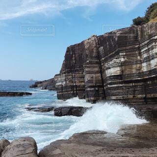 自然,風景,海,空,屋外,ビーチ,雲,水面,山,岩