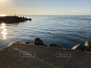 自然,風景,海,夕日,屋外,水面