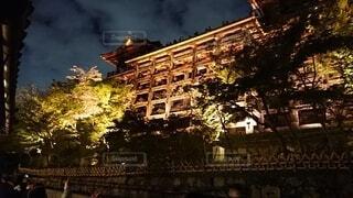 風景,空,建物,清水寺,夜,夜景,屋外,京都,雲,家,樹木,ライトアップ,寺