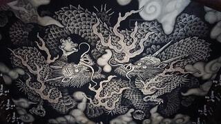 空,建物,京都,雲,アート,デザイン,ドラゴン,インク,漫画,テキスト,建仁寺,スケッチ,双龍,図面,図