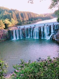 自然,風景,空,屋外,水面,池,滝,樹木,長い,120m,横幅