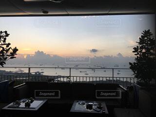 海,空,ビーチ,雲,船,水面,朝焼け