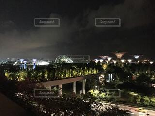 空,建物,夜,夜景,屋外,樹木,シンガポール,夜の空,夜の町
