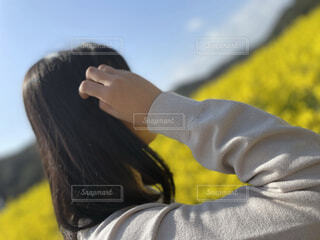 黄色,菜の花,人物,人,菜の花畑
