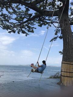 空,屋外,湖,ブランコ,水面,樹木,人物,人,レクリエーション