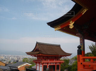 空,屋外,京都,神社,雲,鳥居,樹木,旅行,寺,仏教,建築,日中,パゴダ,風景画