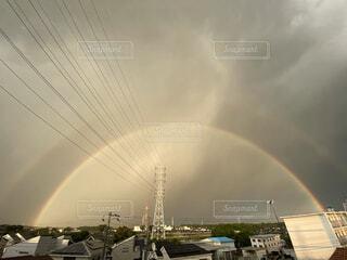 空,雨,屋外,虹,レインボー,雨上がり,6月,ダブルレインボー,ゲリラ豪雨