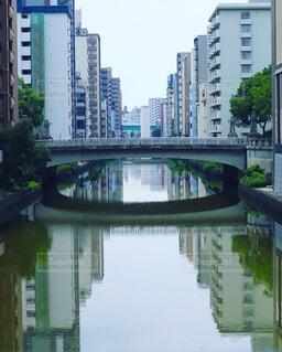 空,建物,橋,屋外,湖,緑,川,水面,反射,樹木,都会,高層ビル,堀川