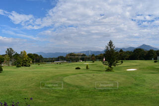 空,屋外,雲,景色,草,樹木,ゴルフ