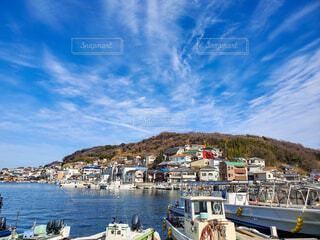 風景,空,屋外,雲,船,水面,山,家,旅,港,町並み,島旅