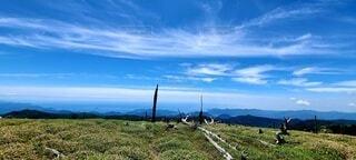 風景,空,屋外,草原,雲,山,景色,草,丘,草木,青空 景観 大台ヶ原山 登山