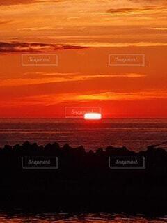 海,空,太陽,夕暮れ,海岸,オレンジ,四角