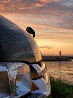 自然,海,車,灯台,夕陽