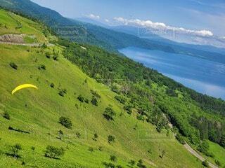自然,風景,空,屋外,湖,緑,草原,雲,水面,山,丘,新緑,山腹