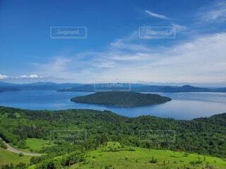 自然,風景,空,屋外,湖,雲,綺麗,島,水面,山,大地,眺め,日中,キレイ,山腹