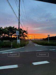 空,木,赤,雲,夕焼け,車,道路
