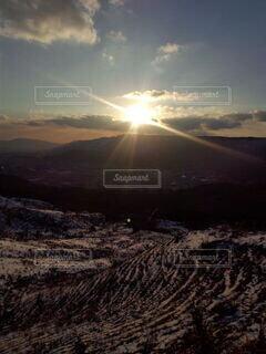 自然,夕日,太陽,山,洞窟