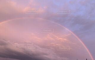 自然,空,屋外,雲,夕暮れ,虹,雨上がり,くもり