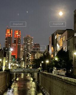 自然,風景,空,建物,屋外,都会,月,高層ビル,明るい,街路灯