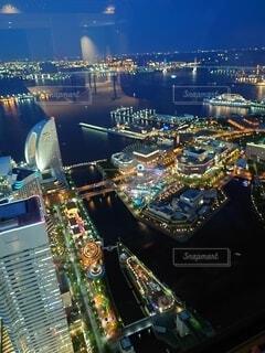 夜,観覧車,高層ビル,横浜,明るい,ランドマークタワー
