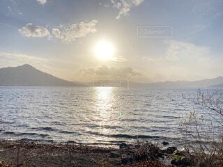 自然,風景,海,空,屋外,湖,太陽,ビーチ,雲,水面,山