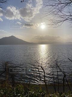 自然,風景,空,屋外,湖,太陽,雲,夕暮れ,水面,山