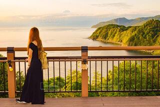 富士山と夕焼けと海の写真・画像素材[4658119]