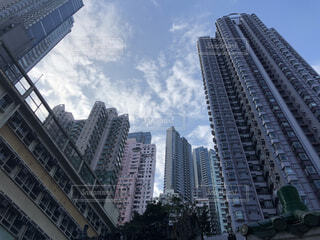 空,建物,屋外,海外,雲,景色,高層ビル,高上昇