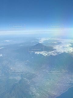 自然,空,富士山,屋外,雲,飛行機,虹,窓,山,空中