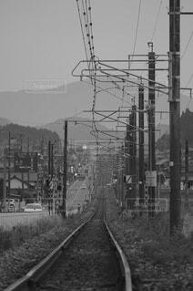 空,屋外,霧,樹木,トラック,鉄道,電線路,黒と白,電源供給