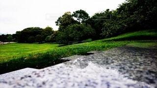 石のベンチに座りながら公園を眺めての写真・画像素材[4583778]