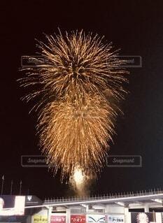 球場に上がる打ち上げ花火の写真・画像素材[4664642]