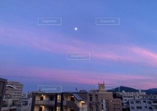 空,屋外,雲,夕暮れ,月