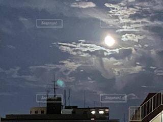 自然,風景,空,屋外,雲,月,夜、窓、高層ビル、マンション、十五夜