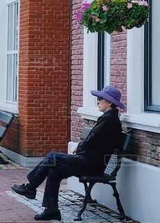街角のおしゃれな休憩スポットの写真・画像素材[4550578]