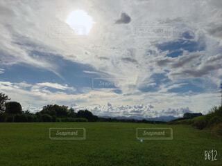 空に雲が立つ大きな緑の草原の写真・画像素材[4559463]