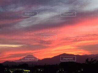 富士山と夕焼けの写真・画像素材[4851069]