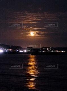 自然,風景,海,空,雲,海辺,幻想的,反射,月