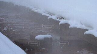 自然,雪,屋外,水面,霧,小川,冷たい