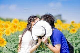 ひまわり畑の中でこっそりキスをするカップルの写真・画像素材[4677167]
