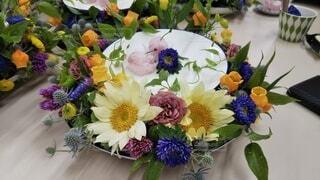花,食事,屋内,テーブル,フラワーアレンジ,配置