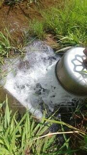 夏,屋外,水面,草,田園,水の勢い,田んぼへの水やり,水の涼やかさ